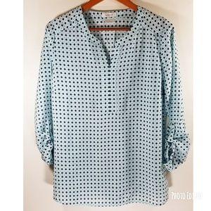 Van Heusen women blouse split collar sz L